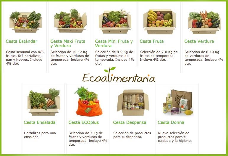Cistelles de fruita i verdura ecológica Barcelona