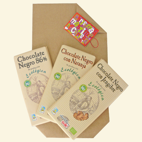 Paquete regalo de chocolate ecológico y local